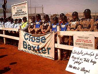 The gates of Baxter guarded jealously: the Easter 2005 protest