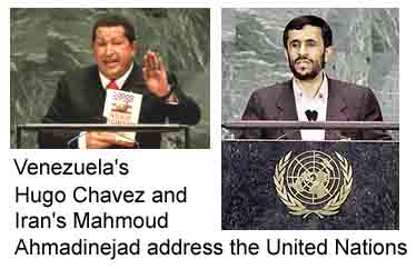 Hugo Chavez and Mahmoud Amadinejad address the United Nations