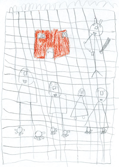 The child's drawing after seeing a detainee cut his wrists