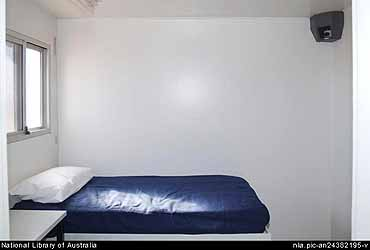 A bedroom in the Baxter detention centre's isolation compound or Management Unit, complete with the 24-hour camera