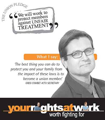 Greg Combet, leading the Rights at Work campaign against the Howard government's Industrial Relations legislation