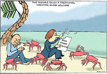 Gillard and Abbott on Christmas Island