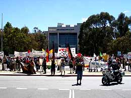 Protesters in front of the Australian High Court on 16 November 2004