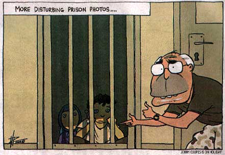 John Howard imprisons children, reminiscent of the Abu Ghraib torture images