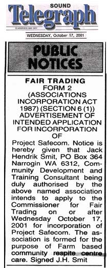 Incorporation Advertisement