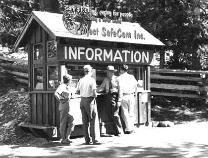 Project SafeCom Information booth at the edge of the forest park