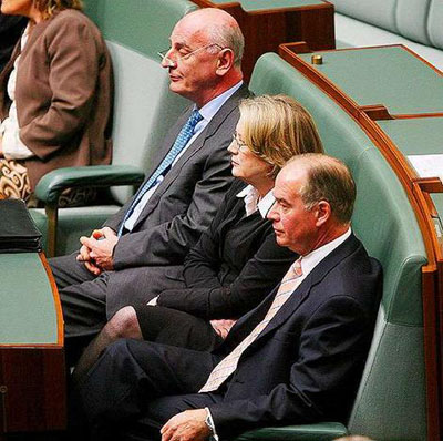 Liberal Dissenters Petro Georgiou, Judi Moylan and Russell Broadbent, waiting for the moment where they will cross the floor in 2005