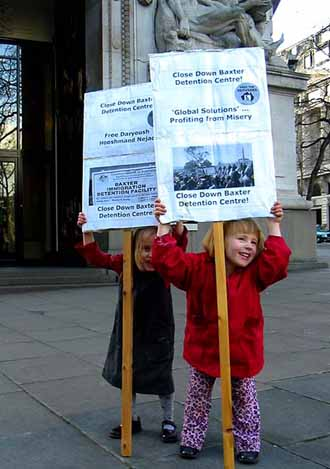 London Australia House, Easter 2005 Baxter protest