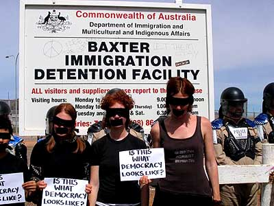 Is this what Democracy in Australia looks like, ask protesters at the Baxter detention centre during Easter 2005...