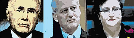 Digital portraits by artist Michael Agzarian of John Howard, Phillip Ruddock and Amanda Vanstone with lips stitched