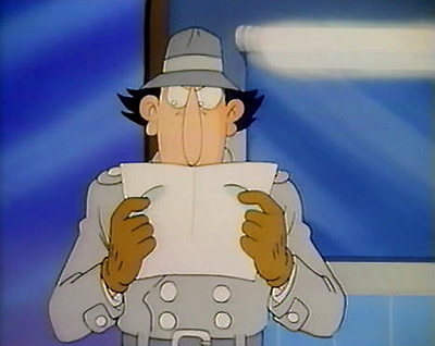 Inspector Gadget reads the news alert
