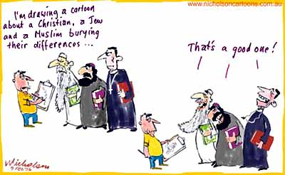 Spot the difference: Muslims, Jews and Christians are subject to cartooning ventures