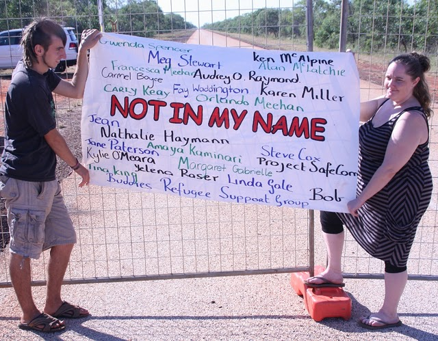 Our Not In My Name Banner promotion