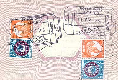Immigration stamps in a passport