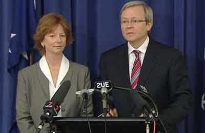 Kevin Rudd and Julia Gillard announcing their challenge to John Howard as well as the ALP on their leadership appointment