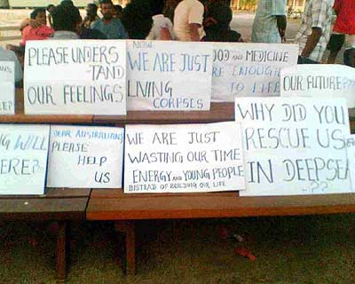 Signs displayed by the Sri Lankans during their hungerstrike on Nauru in June 2007
