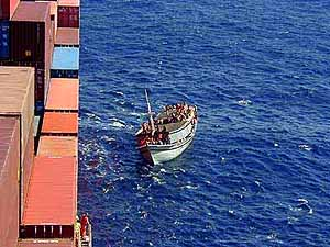 Almost there: the boat reaches the MV Tampa, unaware of the dramas soon to unfold