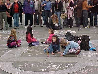 The London 2003 O-I-L women's peace action at Trafalger Square - click for more information