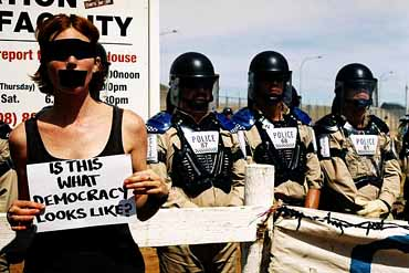 Is this is what Democracy looks like, asks someone during Easter 2005 at the Baxter detention centre