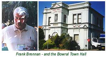An image of the Bowral Memorial Town Hall, and Fr Frank Brennan 'having a coffee' during a conference