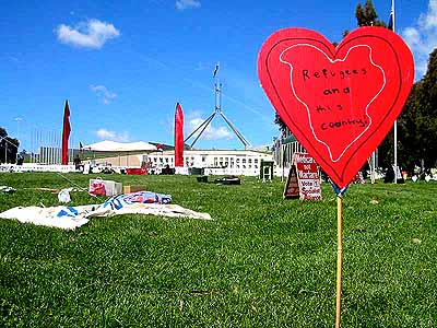 Hearts for Refugees in front of Parliament House in Canberra