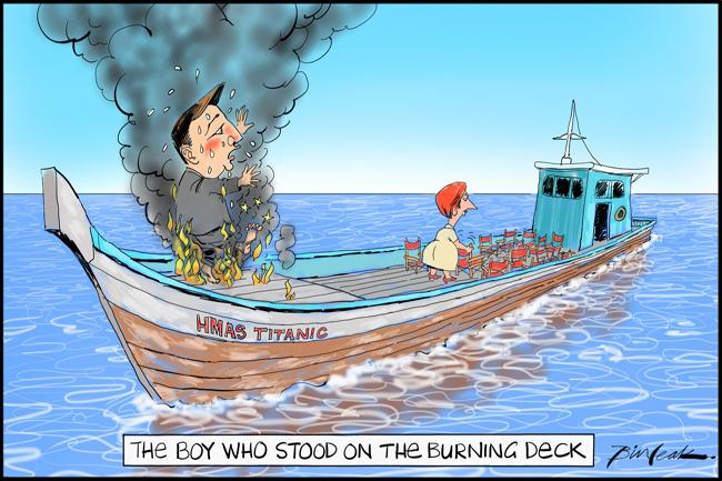 Gillard and Bowen aboard a burning boat issue