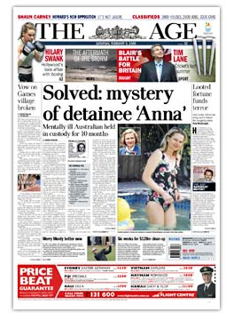 The Award-winning story that revealed the story of 'Anna' Cornelia Rau, by The Age reporter Andra Jackson
