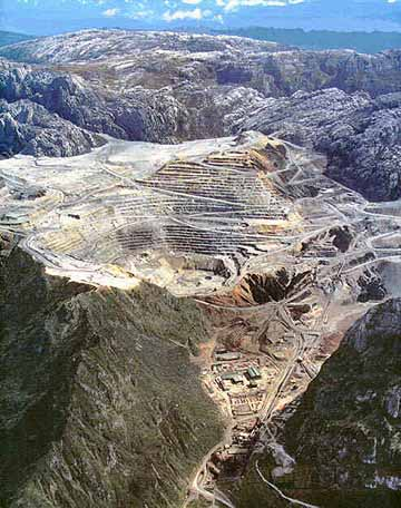 The Freeport Grasberg mine in West Papua
