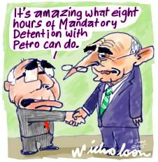 John Howard feels Petro Georgiou's Mandatory detention resolve