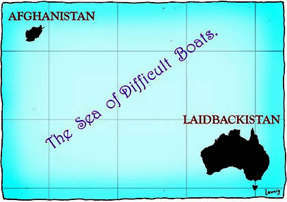 Leunig's Laidbackistan and the Sea of Difficult Boats