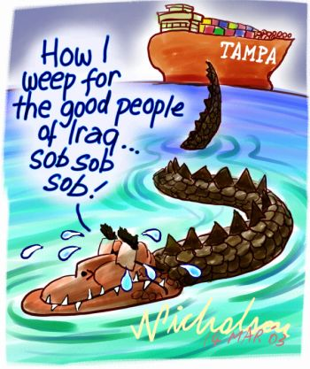 John Howard the crocodile grieves for the Iraqi people