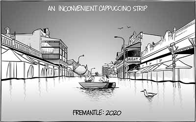 A post-climate change cartoon of The Cappucino Strip in Fremantle