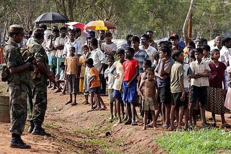 Displaced Sri Lankan Tamils in a refugee camp in Vavuniya