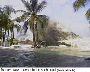The Tsunami slams into the Aceh coastline