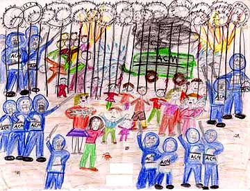 A drawing of an incident in the Woomera detention centre, made by a child in 2002