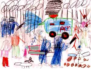 This is an image drawn by a child detainee, clearly showing the water cannon at the Woomera detention centre